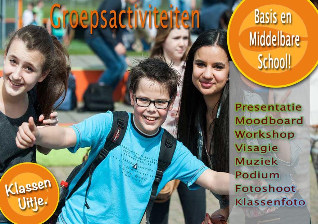 Klassenactiviteiten met muziek, een gave fotoshoot, zelfvertrouwen en samenwerken voor een leuke omgang met je klasgenoten.