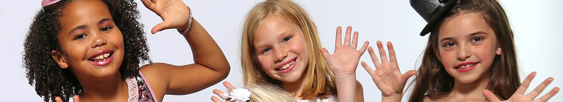 kinderfeestje fotomodel voor meisjes en tieners met beauty en make-up party