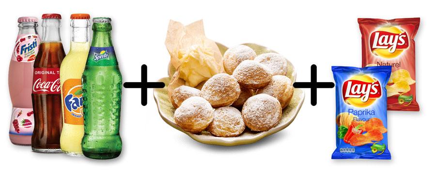 Compleet arrangement met poffertjes fris een blikje frisdrank en een zakje chips